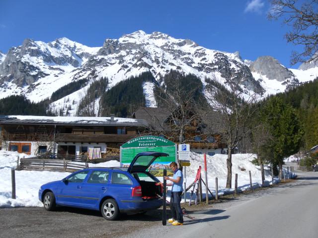 Foto: Wolfgang Lauschensky / Ski Tour / Scheichenspitze - Gruberkar / Scheichenspitze links, Aufstieg übers Gruberkar rechts vor dem Mitterstein / 22.03.2012 16:46:56