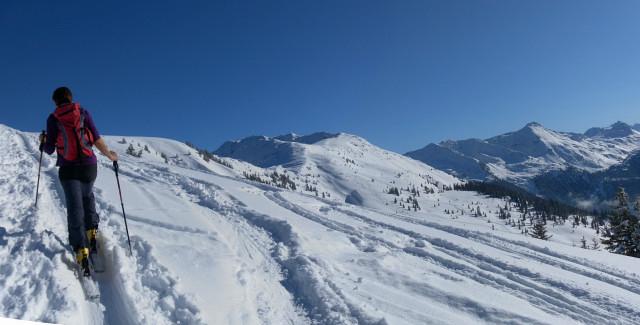 Foto: Wolfgang Lauschensky / Ski Tour / Lodron (1926m) / Gipfelhang mit Blick zu Steinbergstein, Schneegrubenspitze und Kröndlhorn / 26.02.2012 15:15:11