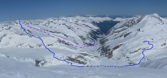 Foto: Wolfgang Lauschensky / Ski Tour / Von der Kürsingerhütte auf die Schlieferspitze (3290m) / Route vom Großen Geiger aus gesehen / 07.05.2013 16:01:02