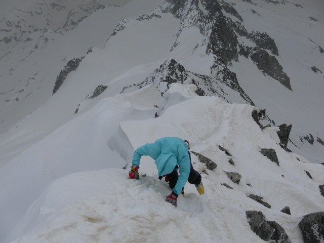Foto: Wolfgang Lauschensky / Ski Tour / Von der Kürsingerhütte auf die Schlieferspitze (3290m) / Gipfeltiefblick zum Anstiegsgrat / 07.05.2013 15:58:59