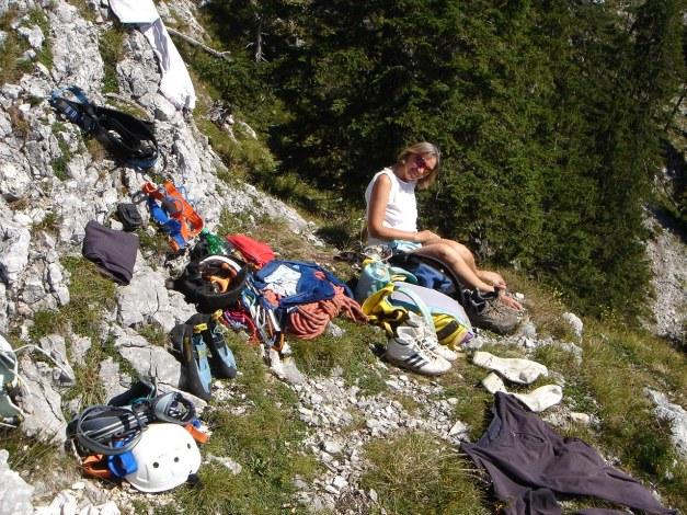 Foto: Manfred Karl / Kletter Tour / Südwestgrat / Rast beim Überstieg / 22.08.2009 21:42:24