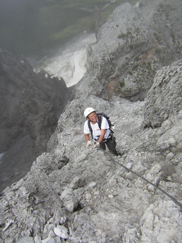 Foto: Wolfgang Lauschensky / Klettersteig Tour / Über den Schlicker Klettersteig auf die Große Ochsenwand / KS hinab zur Alpenclubscharte / 11.10.2012 09:30:50