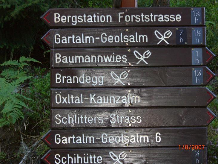Foto: Charly Weigarten / Mountainbiketour / Kaunzalm / Wegweiser in Richtung Kaunzalm Rechts und Gartalm Geolsalm Links / 02.08.2009 19:46:33