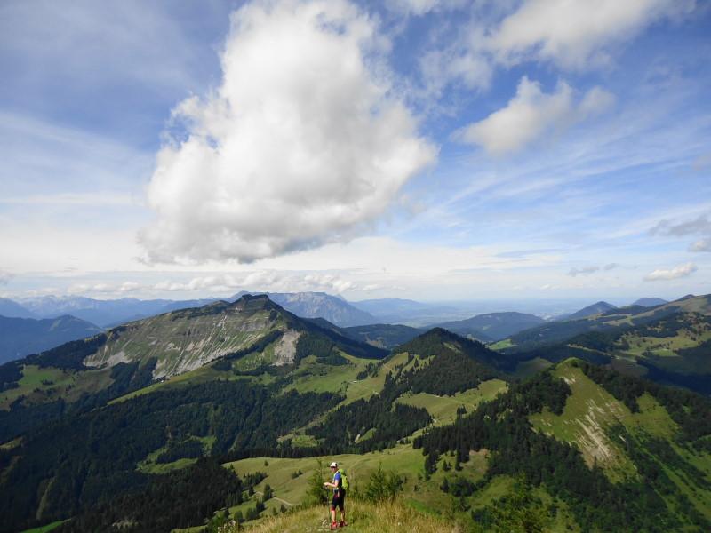 Foto: Günter Siegl / Wander Tour / Über den Nordostgrat auf den Regenspitz / Abstieg, Blick auf Bergköpfl, Sattelköpfel und Schlenken / 28.08.2014 19:54:46