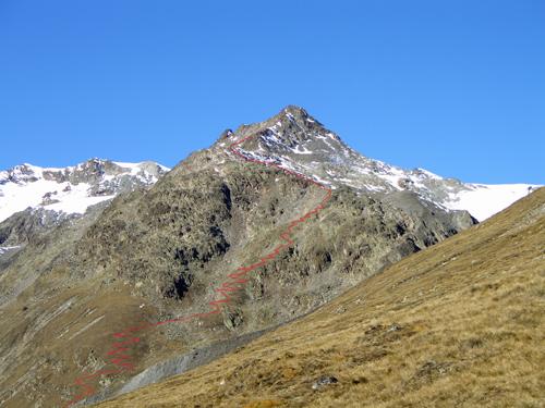 Foto: vince 51 / Wandertour / Vom Hochjoch-Hospiz auf die Mutspitze / Mutspitze; eingezeichnet der ungefähre Wegverlauf / 04.11.2007 20:19:14