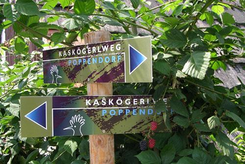 Foto: Spirit of regions / Wander Tour / Auf den Spuren der Vulkane: Rund um`s Kaskögerl / Der Wiedehopf ist das Wahrzeichen von Poppendorf und ziert den Wegweiser. / 19.06.2011 15:17:44