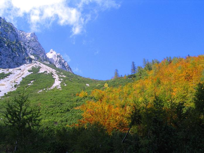 Foto: Andreas Koller / Klettersteig Tour / Hochturm - Nordflankensteig (2088 m) / Herbstliche Farben unterhalb des Hainsch Sattels / 18.09.2007 01:27:34