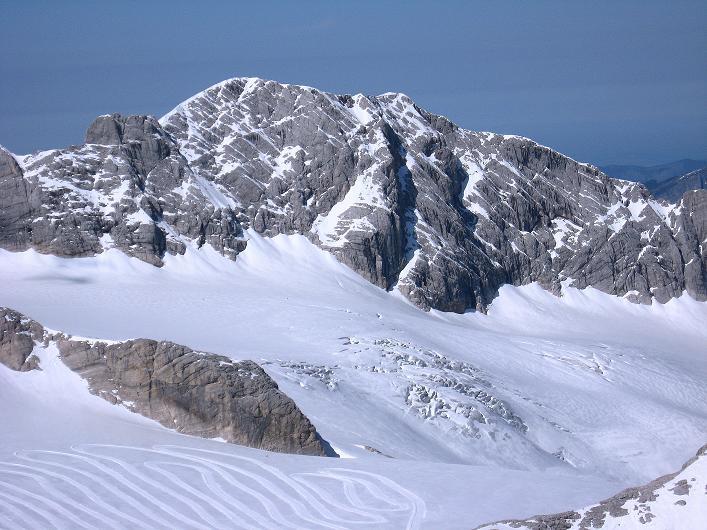 Foto: Andreas Koller / Klettersteig Tour / Westgrat Koppenkarstein neu (2865 m) / Blick auf die Spalten am Hallstätter Gletscher / 28.09.2007 19:46:45