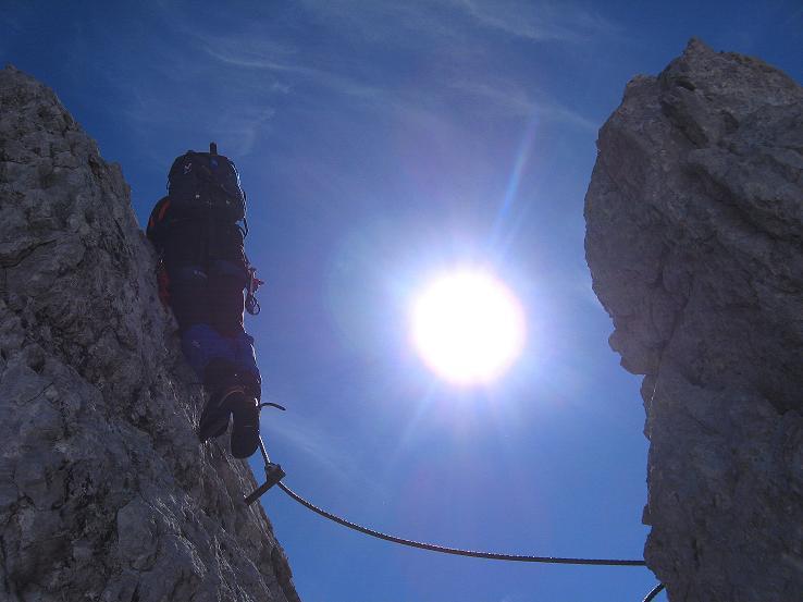 Foto: Andreas Koller / Klettersteig Tour / Westgrat Koppenkarstein neu (2865 m) / Einer der schwierigeren Abschnitte am W-Grat / 28.09.2007 19:46:23