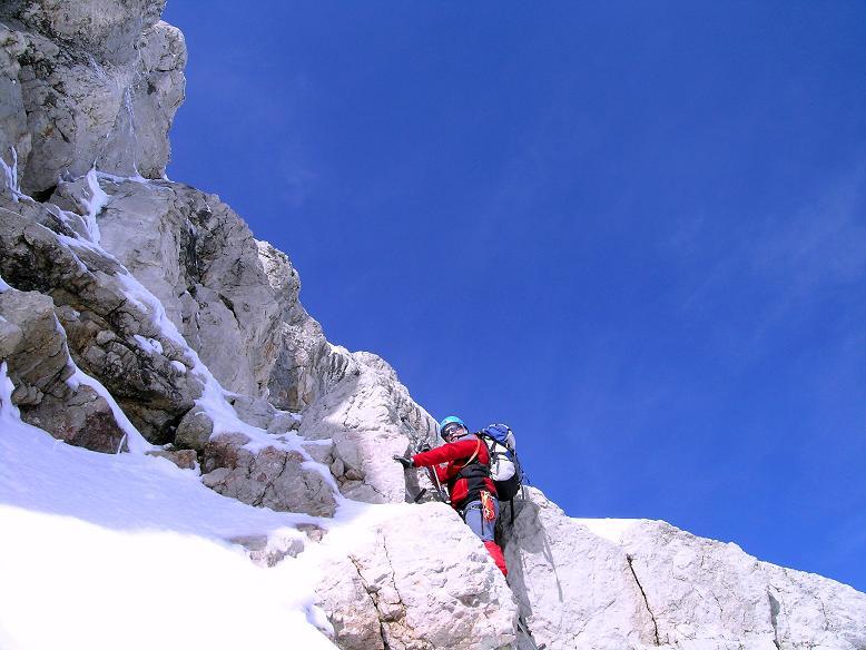 Foto: Andreas Koller / Wander Tour / Hoher Dachstein und Windlegerscharte (2996 m) / Steiler Anstieg in Fels und Eis / 01.10.2007 19:39:24