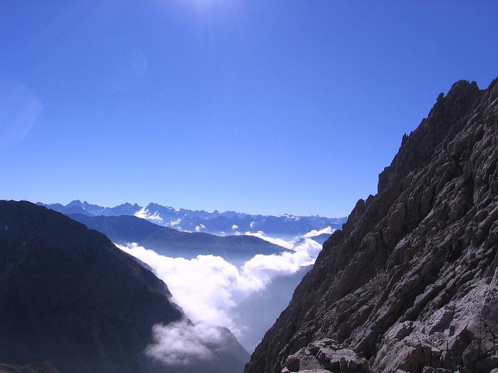 Foto: Andreas Koller / Klettersteig Tour / Steinsee Klettersteig (2650 m) / Blick vom Einstieg nach S zu den Ötztaler Alpen / 09.10.2007 01:51:51
