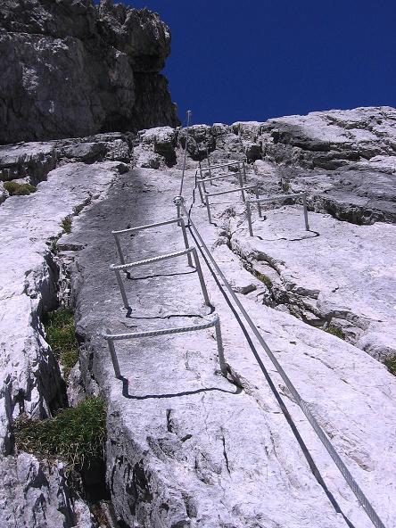 Foto: Andreas Koller / Klettersteig Tour / Steinsee Klettersteig (2650 m) / Schlüsselstelle: die plattige Rampe / 09.10.2007 01:48:52