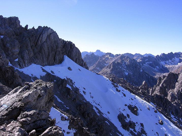 Foto: Andreas Koller / Klettersteig Tour / Steinsee Klettersteig (2650 m) / Blick nach W zur Parseierspitze (3036 m) / 09.10.2007 01:44:57