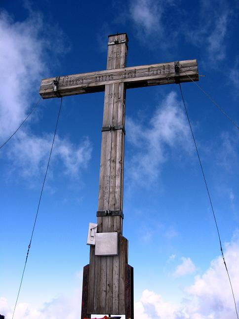 Foto: Andreas Koller / Wander Tour / Grattour vom Silvrettahorn zur Schneeglocke (3244 m) / Gipfelkreuz am Silvrettahorn / 12.10.2007 00:24:30