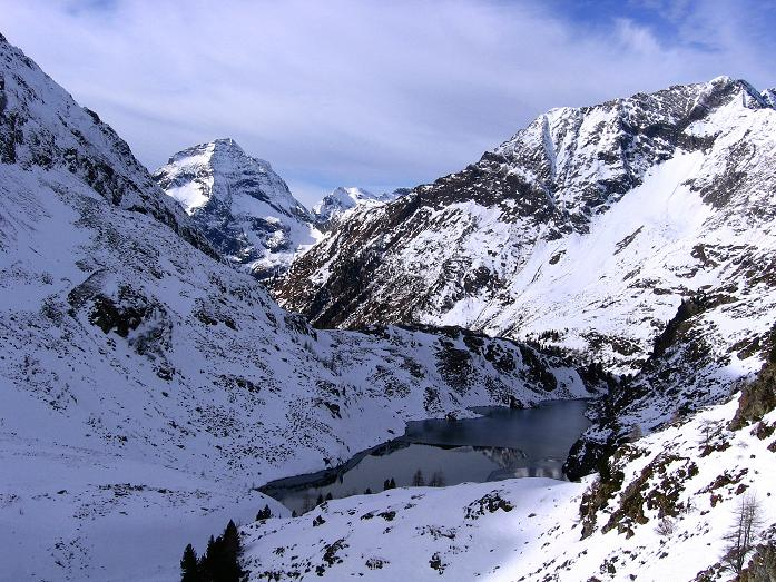 Foto: Andreas Koller / Wander Tour / Lanschitzseen und Hasenhöhe (2446 m) / Blick über den Mittleren Lanschitzsee zum Hochgolling (2863 m) / 30.10.2007 04:39:37