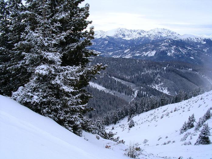 Foto: Andreas Koller / Ski Tour / Kreischberger Kammtour (2172m) / Blick vom Schattloch nach W zu den Gipfeln der Turracher Höhe / 11.12.2007 03:12:18