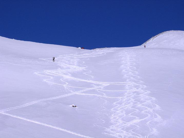 Foto: Andreas Koller / Ski Tour / Geheimtipp Zanderstal und Hinteres Kreuzjoch (2853m) / Die Steilstufe zur oberen Mulde unterhalb des Hinteren Kreuzjoches / 18.12.2007 21:57:27
