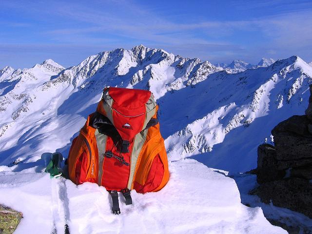 Foto: Andreas Koller / Ski Tour / Geheimtipp Zanderstal und Hinteres Kreuzjoch (2853m) / Am Hinteren Kreuzjoch mit Blick auf den Hexenkopf (3035 m) / 18.12.2007 21:52:35