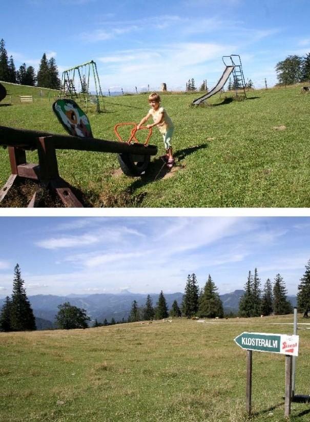 Foto: Climber69 / Wander Tour / Almwanderung auf der Klosteralm (1067m) und Mitterriegelsteig / Oben: Spielplatz bei Bergstation; Unten: 5 Minuten quer über die Wiese zur Alm / 28.12.2007 21:29:35