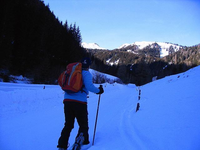 Foto: Andreas Koller / Ski Tour / Aus dem Scharnitzgraben auf den Großhansl (2315m) / Weit unten im Schranitzgraben eröffnet sich schond er Blick auf den Großhansl (links) / 29.12.2007 16:56:14