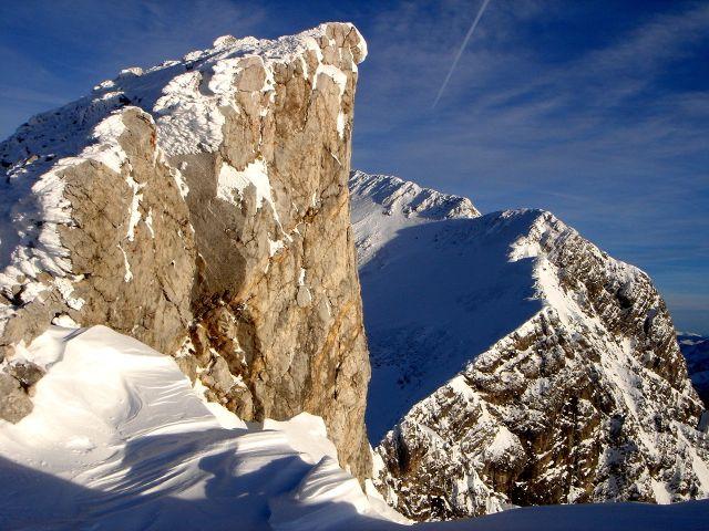 Foto: Manfred Karl / Ski Tour / Kleiner Pleißlingkeil aus dem Flachautal / Die Felsnase des Schigipfels / 31.01.2008 17:46:09