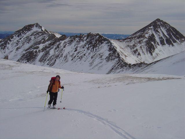 Foto: Manfred Karl / Ski Tour / Über die Schar auf das Viertleck / Aufstieg zum Vorgipfel, rechts hinten das Schareck / 11.02.2008 06:25:24