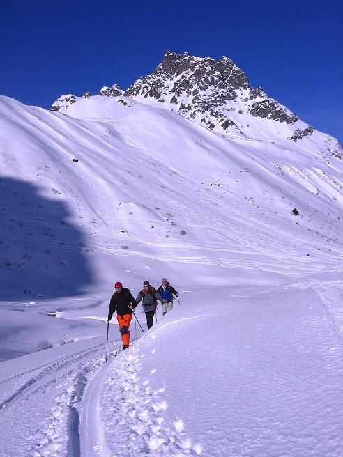 Foto: Andreas Koller / Ski Tour / Pulverschnee am Valzifenzer Grat (2515 m) / Aufstieg im Valzifenzer Tal mit Madrisa (2770 m) / 17.02.2008 01:05:03