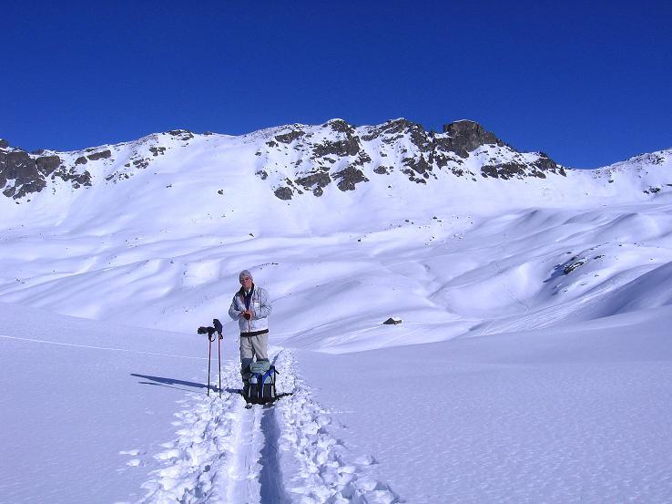 Foto: Andreas Koller / Ski Tour / Pulverschnee am Valzifenzer Grat (2515 m) / Im Anstieg von der Zollhütte / 17.02.2008 01:00:27