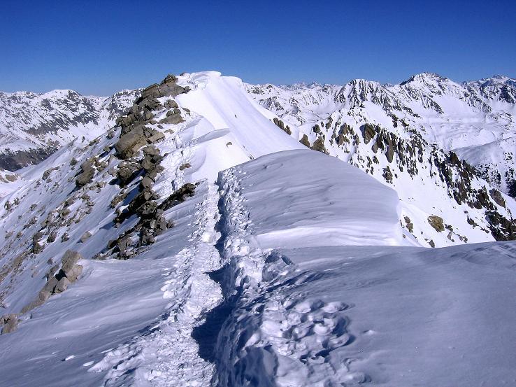 Foto: Andreas Koller / Ski Tour / Piz Vallatscha - unbekannte Tour im Engadin (3021 m) / Der Gipfelgrat vom Vorgipfel zum höchsten Punkt / 18.02.2008 01:40:45
