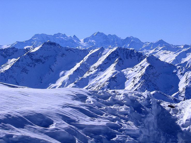 Foto: Andreas Koller / Ski Tour / Piz Vallatscha - unbekannte Tour im Engadin (3021 m) / Blick nach S zur Bernina (4049 m) / 18.02.2008 01:35:34