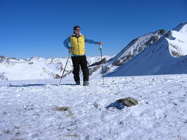 Foto: Andreas Koller / Ski Tour / Gipfelrunde im Fimbertal (3009 m) / Am Piz da Val Gronda mit Vesilspitze (3097 m) im Hintergrund / 19.02.2008 23:47:31
