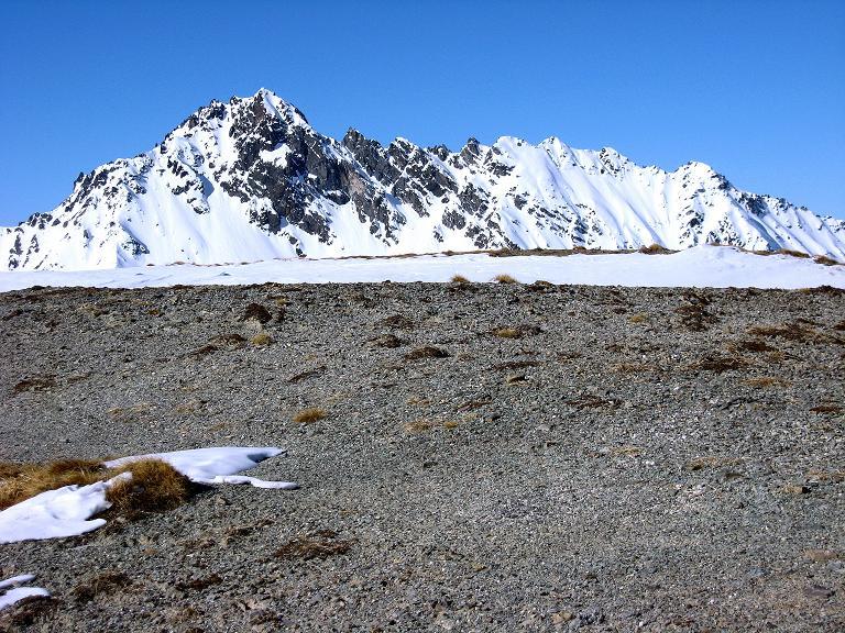 Foto: Andreas Koller / Ski Tour / Gipfelrunde im Fimbertal (3009 m) / Abfahrt vom Piz da Val Gronda mit Blick auf Gemsbleis Spitze (3014 m) / 19.02.2008 23:45:17