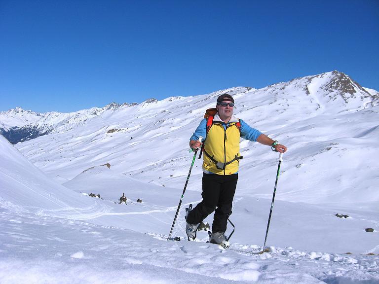 Foto: Andreas Koller / Ski Tour / Gipfelrunde im Fimbertal (3009 m) / Aufstieg Richtung Larainferner Joch hoch über dem Fimbertal / 19.02.2008 23:42:28