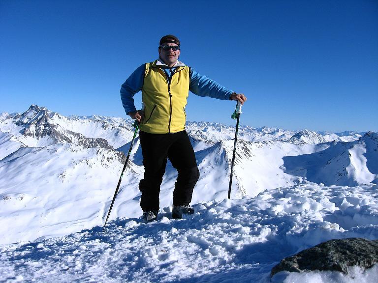 Foto: Andreas Koller / Ski Tour / Gipfelrunde im Fimbertal (3009 m) / Am Piz Larain mit Blick nach O zur Stammerspitze (3254 m) / 19.02.2008 23:37:35