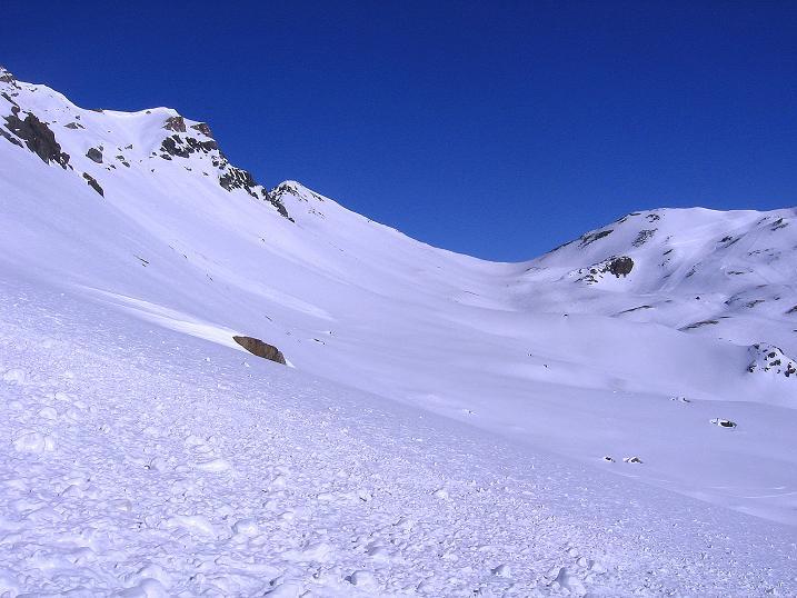 Foto: Andreas Koller / Ski Tour / Piz Minschun - Aussichtsloge hoch über dem Engadin (3068 m) / Blick nach N zur Fuorcla Champatsch (2730 m) / 21.02.2008 20:09:41