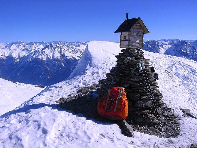 Foto: Andreas Koller / Ski Tour / Piz Minschun - Aussichtsloge hoch über dem Engadin (3068 m) / Piz Minschun - Gipfel / 21.02.2008 19:59:27