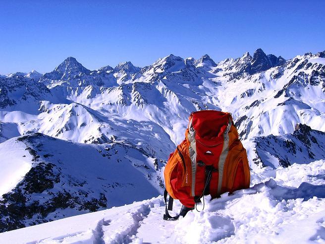 Foto: Andreas Koller / Ski Tour / Piz Minschun - Aussichtsloge hoch über dem Engadin (3068 m) / Blick nach SW zum Piz Buin (3312 m) und den Piz Linard (3411 m) / 21.02.2008 19:58:32