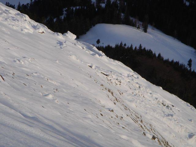 Foto: Manfred Karl / Ski Tour / Faistenauer Schafberg (1559m) / Fast immer abgerutscht ist der Schnee in der steilen Südflanke / 22.02.2008 16:10:38