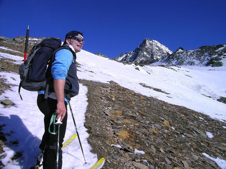 Foto: Andreas Koller / Ski Tour / Im Banne des Großglockners auf den Teufelskamp (3511m) / Anstieg zur Schere mit Blick auf den Großglockner (3798 m) / 26.02.2008 21:32:15