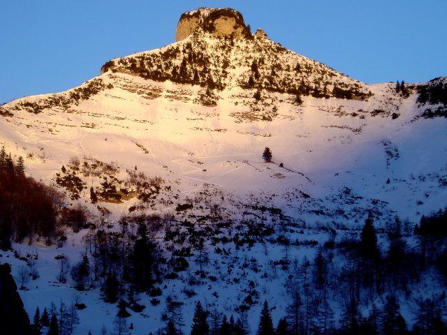 Foto: Manfred Karl / Ski Tour / Über den Tennerwinkel auf den Schmittenstein / Schmittenstein-Westflanke bei sehr geringer Schneelage / 29.02.2008 16:36:01