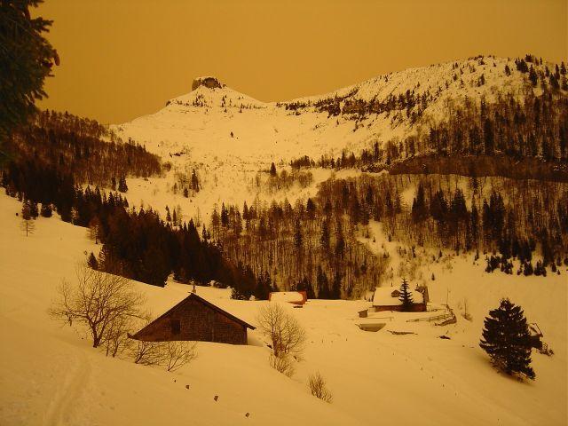 Foto: Manfred Karl / Ski Tour / Über den Tennerwinkel auf den Schmittenstein / Tenneralm gegen Schmittenstein / 29.02.2008 16:31:07