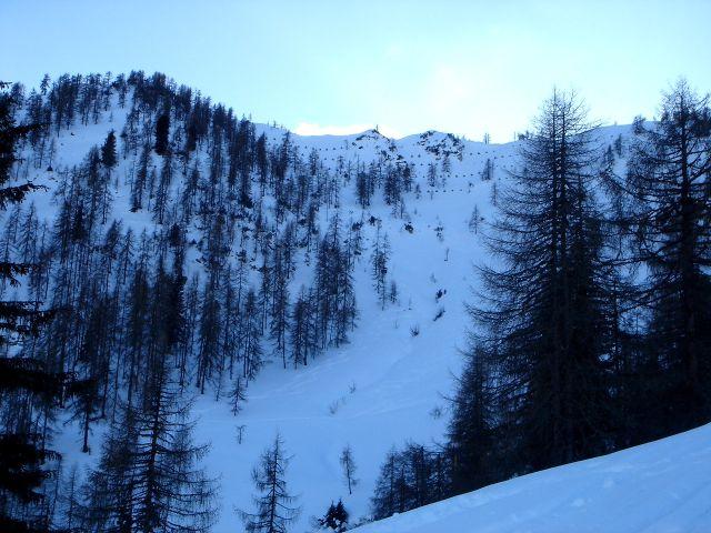 Foto: Manfred Karl / Ski Tour / Von St. Martin auf den Korein / Auch diese Hänge werden immer wieder befahren / 14.03.2008 07:42:07