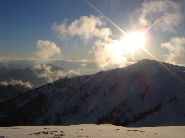 Foto: Manfred Karl / Ski Tour / Von St. Martin auf den Korein / Später Nachmittag am Korein, Blickrichtung Frommerkogel / 14.03.2008 07:27:25