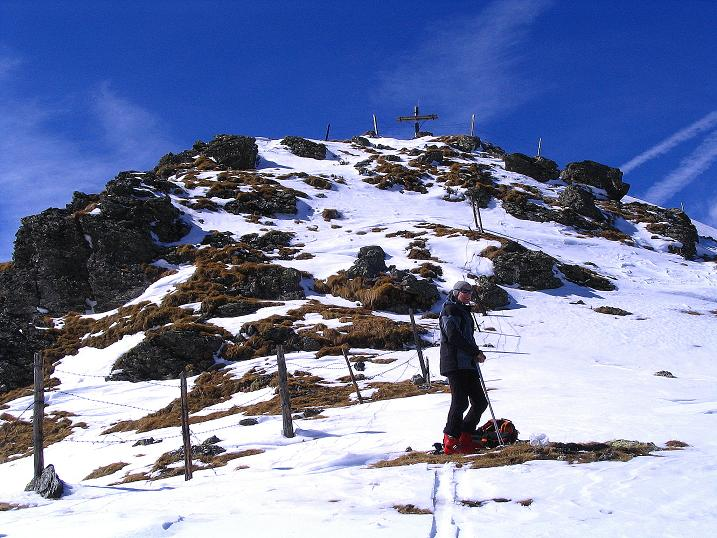 Foto: Andreas Koller / Ski Tour / Von der Turrach auf das Gregerlnock (2296m) / Letzter kleiner Steilaufschwung zum Gipfelkreuz / 16.03.2008 16:34:23