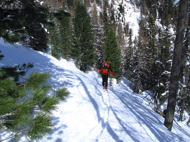 Foto: Andreas Koller / Ski Tour / Über die Zwieflerseen auf den Zinken (2191m) / Steilanstieg im Wald nach der Jagdhütte / 31.03.2008 18:59:25