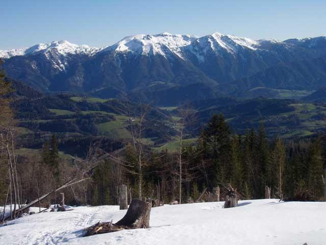 Foto: Grasberger Gerhard / Ski Tour / Warscheneck über Zellerschneise / Im Mittelteil der Zellerschneiße mit Blick Richtung Norden zum Sengsengeb. / 30.04.2008 12:42:38