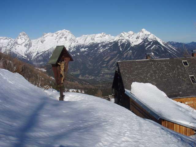 Foto: Grasberger Gerhard / Ski Tour / Warscheneck über Zellerschneise / Zellerhütte mit Gr. und Kl. Priel / 30.04.2008 12:43:09
