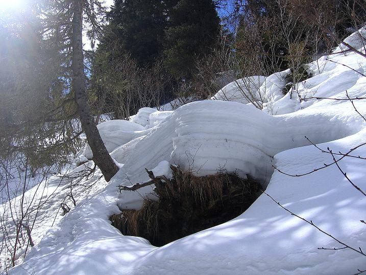 Foto: Andreas Koller / Ski Tour / Vom Bundschuh auf die Schwarzwand (2214 m) / Knifflige Bachquerung / 06.04.2008 23:52:07