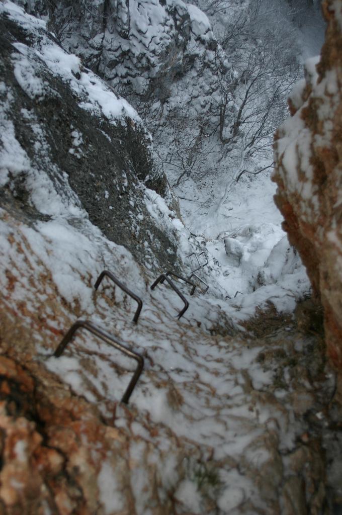 Foto: AbsolutAlpin.at / Klettersteig Tour / Wildenauersteig / Blick hinunter vom Steigbuch / 09.04.2008 13:13:02