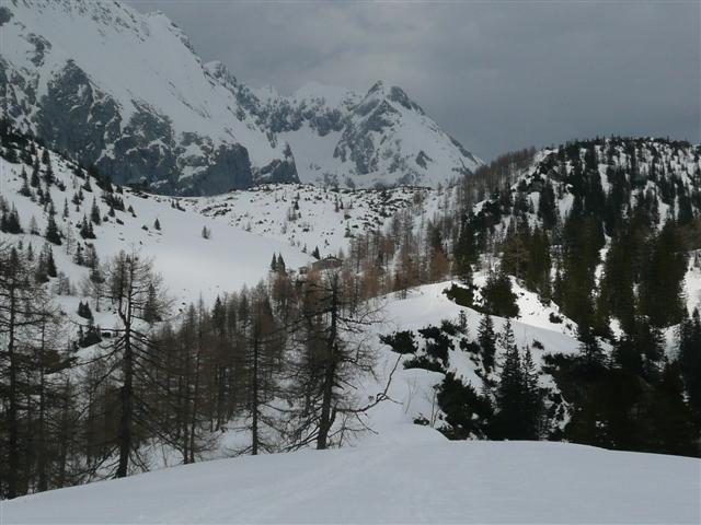Foto: Manfred Karl / Ski Tour / Kahlersberg (2350m) / Blick zum Schneibstein- und Stahlhaus vom Punkt 1657 / 18.04.2008 23:32:35